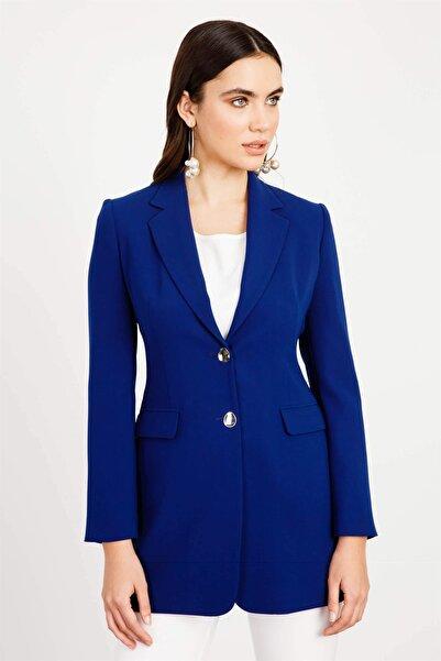 Moda İlgi Kadın Çift Düğme Klasik Ceket