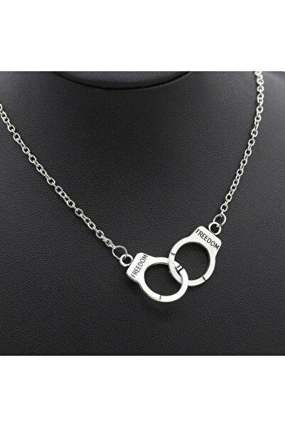 AlpCollection Freedom Özgürlük Kelepçe Gri Metal Hediyelik Zincirli Kolye Takı