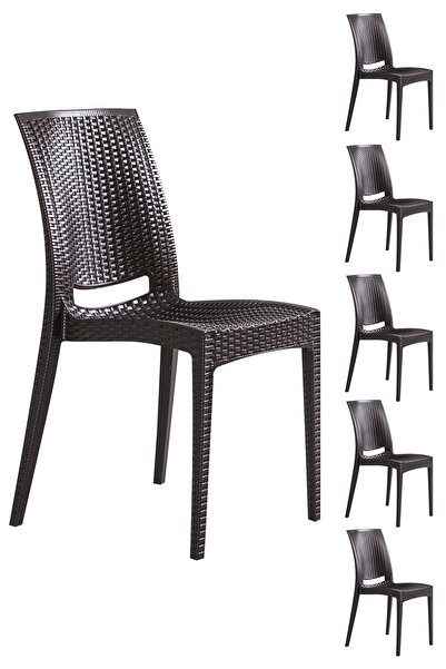 SANDALİE 6 Adet Rattan Kahve Sandalye / Balkon-bahçe-teras