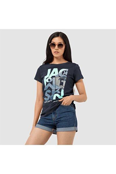 Jack Wolfskin Kadın Siyah Navıgatıon Baskılı Tişört