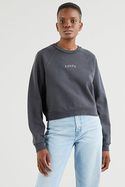 Levi's Kadın  Siyah  Vintage Raglan Crew Blackened Pearl Garment Sweatshirt