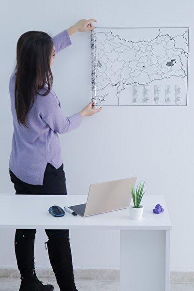 Evbuya Türkiye Haritası Yapışkansız Statik Tutunabilir Akıllı Kağıt & Silgili Kalem