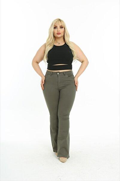 SİZ Kadın Düz Renk Ispanyol Paça Düğme Kapama Büyük Beden Pantolon