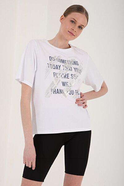 Tommy Life Kadın Deforme Yazı Baskılı Oversize O Yaka T-shirt - 97133