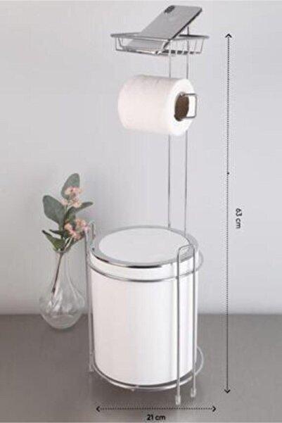NEWSTORE Standlı Çöp Kovası & Wc Kağıtlıklı (yedekli) Set Beyaz