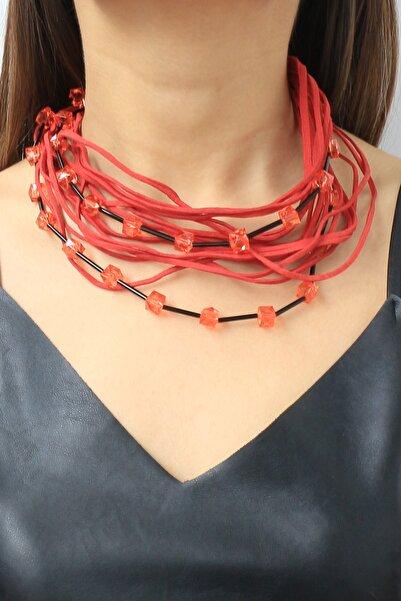 TAKIŞTIR Kadın Kırmızı Özel Tasarım Taş Detaylı İp Kolye