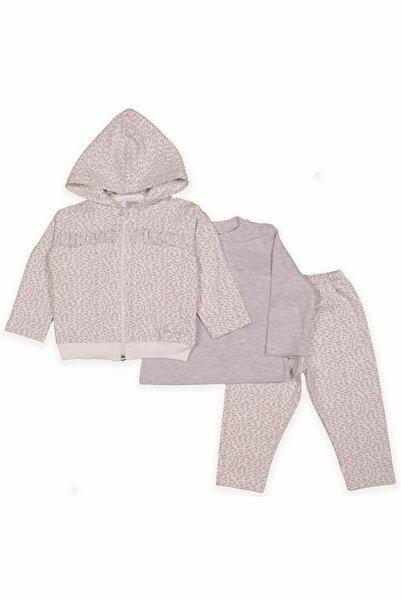 Pierre Cardin Baby Kız Bebek Kahverengi   Kapüşonlu 3'lü Leopar Desenli Takımı