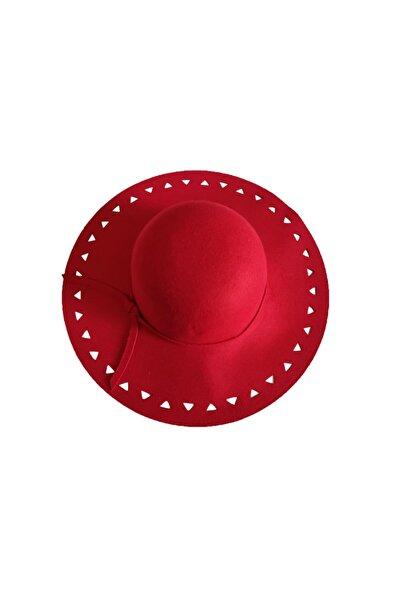 EUROMODA Kırmızı Renkli Bayan Keçe Fötr Şapka
