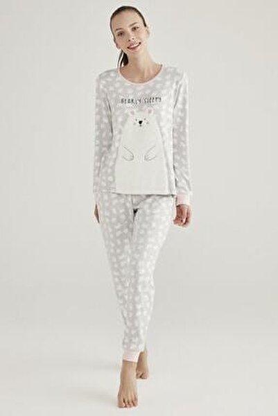 Gri Polar Bear Termal Pijama Takımı