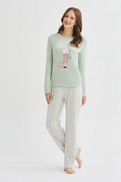Penti Kadın Yeşil Alone Termal Pijama Takımı