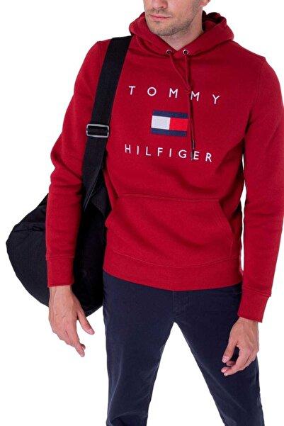 Tommy Hilfiger Erkek Kırmızı Jean Flag Hoodie