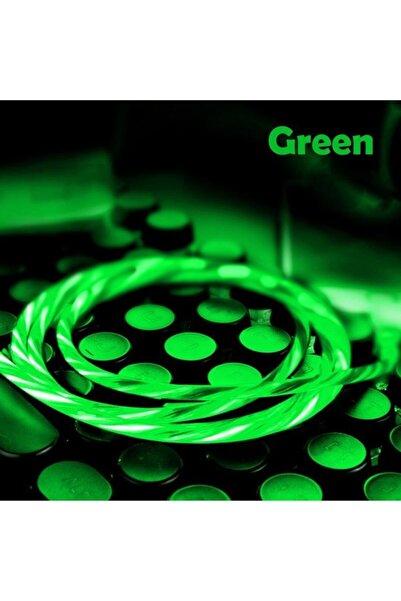 Elmas Type C Full Işıklı Hareketli Manyetik Mıknatıslı Şarj Aleti Sarj Kablosu Yeşil Işıklı