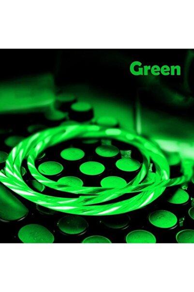 Elmas Micro Usb Full Işıklı Hareketli Manyetik Mıknatıslı Şarj Aleti Sarj Kablosu Yeşil Işıklı