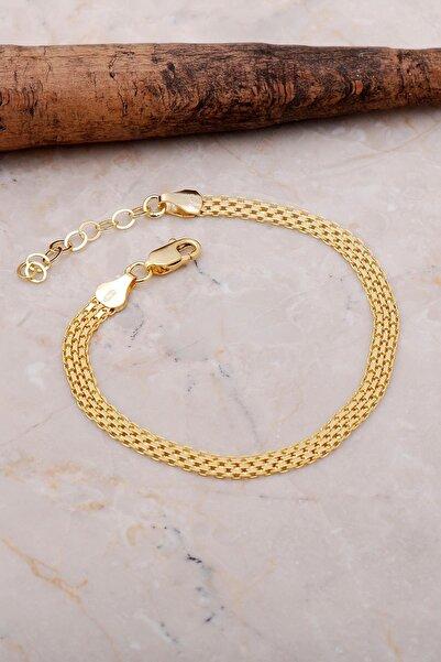 Sümer Telkari Italyan Ezme Altın Yaldızlı Gümüş Hasır Örgü Bileklik 3534