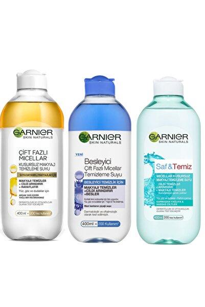 Garnier 3'lü Makyaj Temizle Suyu Makyaj Temizleme Çift Fazlı Micellar+Saf&temiz+Çift Fazlı Kusursuz
