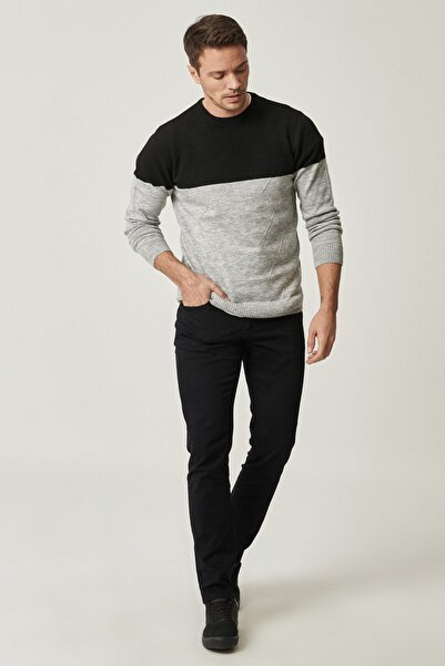 AC&Co / Altınyıldız Classics Erkek Siyah Kanvas Slim Fit Dar Kesim 5 Cep Pantolon
