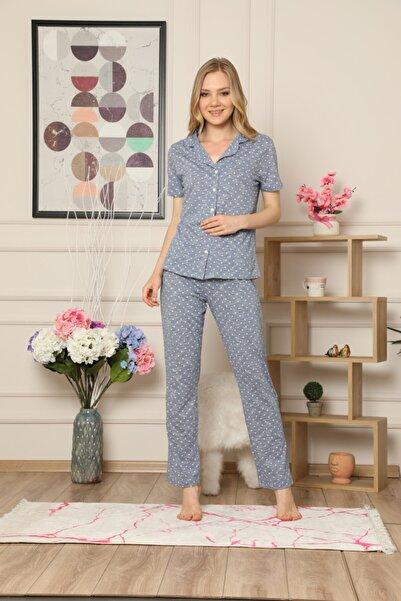 Çekmece Kadın Mavi Düğmeli Puantiyeli Kısa Kol Pamuklu Pijama Takım