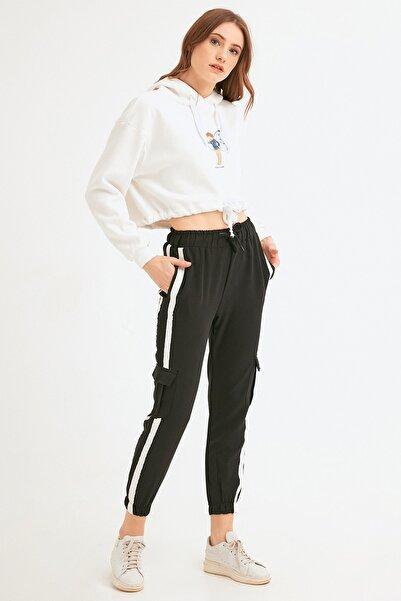 Fulla Moda Kadın Siyah Kargo Cepli Şeritli Eşofman Altı