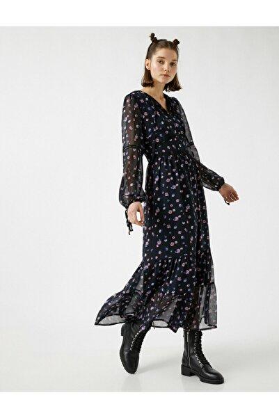 Koton Kadın Siyah Çiçekli Uzun Kollu Şifon Elbise