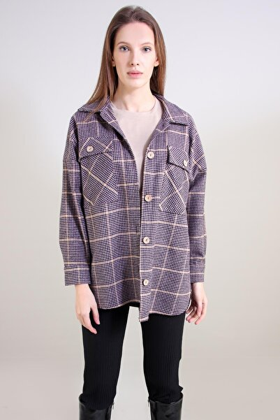 ALEXANDERGARDI Kadın Mor Oversize Oduncu Gömlek