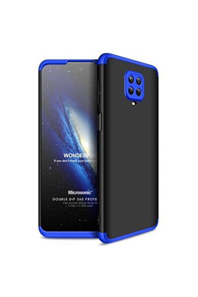 Xiaomi Microsonic Redmi Note 9s Kılıf Double Dip 360 Protective Siyah Mavi