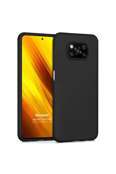 Xiaomi Microsonic Matte Silicone Poco X3 Nfc Kılıf Siyah