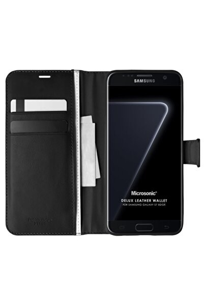 Samsung Microsonic Galaxy S7 Edge Kılıf Delux Leather Wallet Siyah