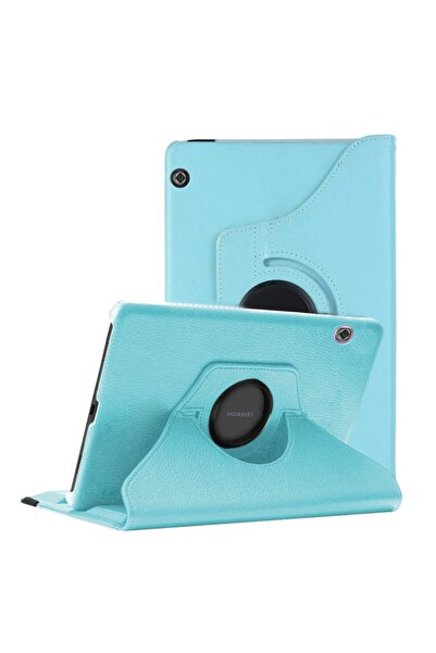 Huawei Microsonic Mediapad T5 10'' Kılıf 360 Rotating Stand Deri Mavi