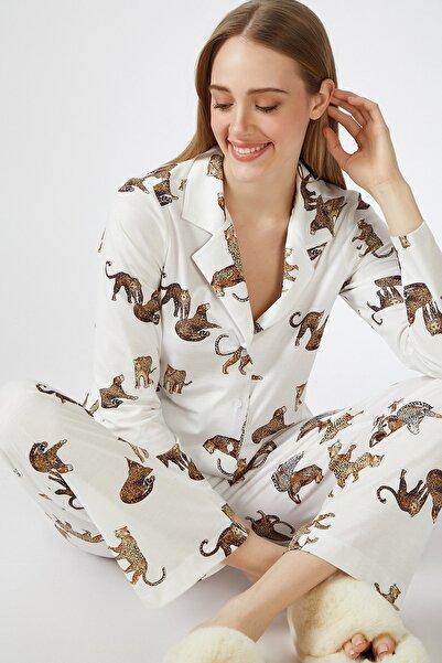 Happiness İst. Kadın Ekru Kaplan Desenli Viskon Pijama Takımı DD00814