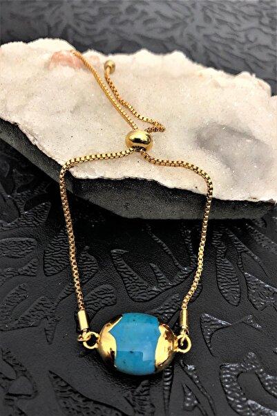 Dr. Stone Dr Stone Golden Firuze Taşı 22k Altın Kaplama El Yapımı Kadın Bileklik Tkrb16
