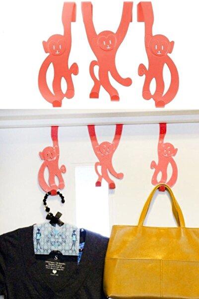 Leva House 3 Adet Kapı Arkası Maymun Desenli Askı Elbise Çanta Askı