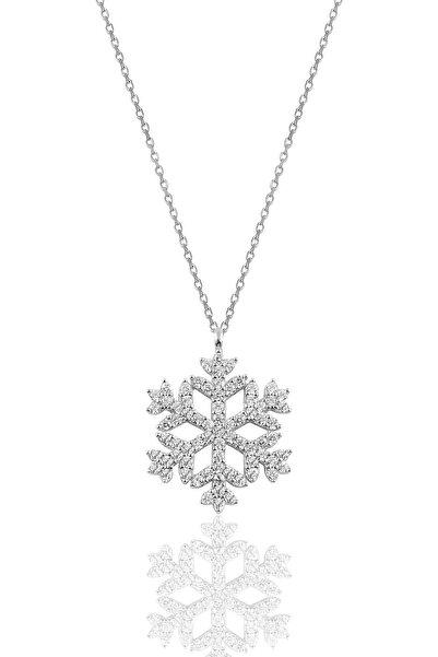 Söğütlü Silver Gümüş Rodyumlu Gümüş Kar Tanesi Kolye