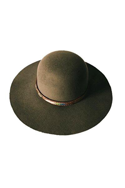 EUROMODA Koyu Yeşil Renkli Bayan Fötr Şapka