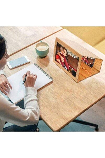 Kingboss 12 Inç Telefon 3d Ekran Büyüteç Smartphone Büyüteç Masif Ahşap Tahıl Katlanabilir Büyütücü