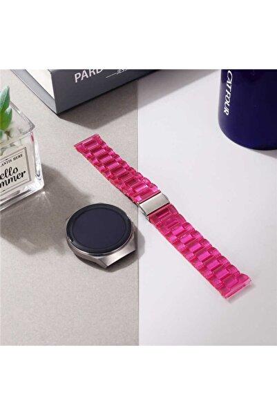 Nezih Case Kordon/kayış Samsung Galaxy Watch Active 2 44mm Uyumlu Sert Plastik Baklalı Tasarım Pembe