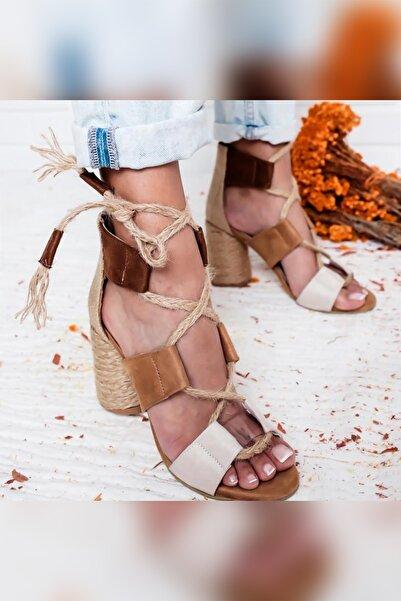 Limoya Kennedy Toprak Bej Taba Naturel Hasır Kum Ten Oval Topuklu Ayakkabı