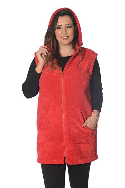 Moda Cazibe Kadın Kırmızı Büyük Beden Yelek