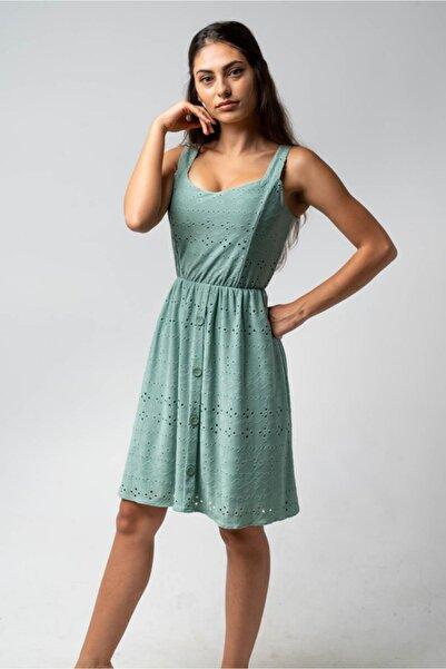 CNS Kalın Askı Düğme Detaylı Elbise