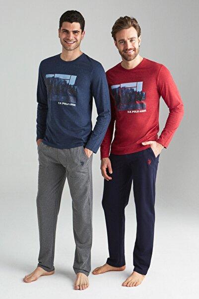 U.S. Polo Assn. Erkek Mavi Melanj Yuvarlak Yaka Pijama Takımı