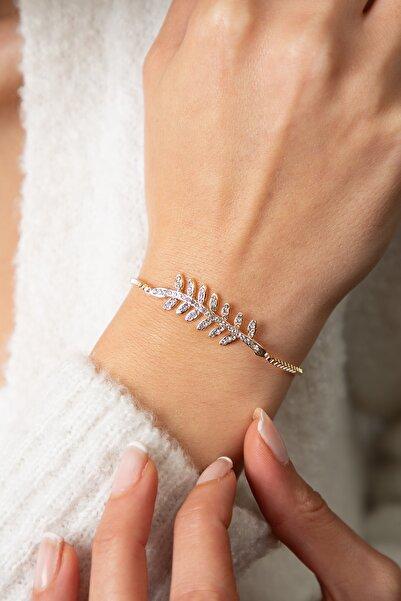 Elika Silver Kadın Altın Kaplama Dal Model Bileklik