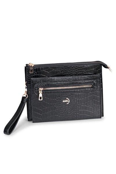 Deri Company Kadın Siyah Basic Clutch Çanta