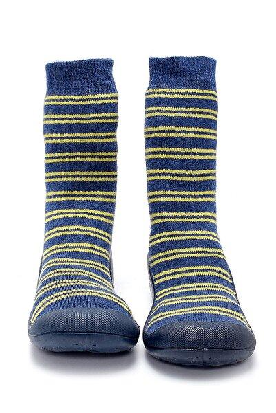 First Step Lacivert Sarı Çizgili Altı Kaymaz Silikon Çocuk Panduf Ayakkabı C-27