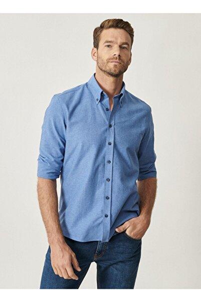 AC&Co / Altınyıldız Classics Erkek K.Mavi Düğmeli Yaka Tailored Slim Fit Oxford Gömlek