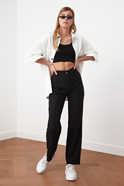 TRENDYOLMİLLA Siyah Yüksek Bel Nervür Dikişli Pantolon TWOSS21PL0093