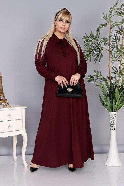 Şirin Butik Kadın Büyük Beden Bordo Renk Kravat Yaka Detaylı Viskon Elbise