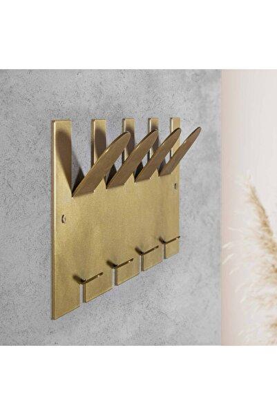 tino furniture Gold Metal 2 Kademeli Duvar Mutfak Banyo Havlu Askısı 40x15 Cm