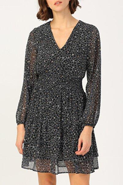 RANDOM Kadın Beli Gipeli Çiçek Desenli V Yakalı Elbise %100 Polyester