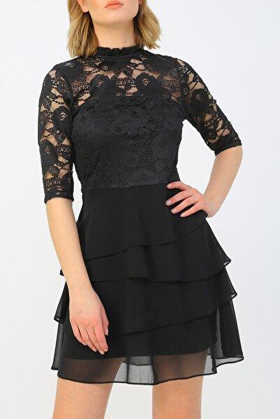 RANDOM Kadın Volan Detaylı Dantel Elbise %100 Polyester