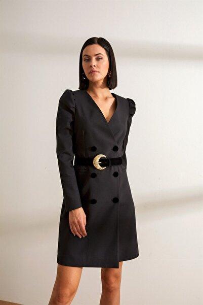 Setre Siyah Kemerli Karpuz Kol Kruvaze Ceket Elbise
