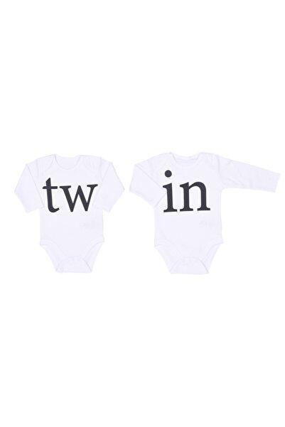 kitikate Unisex Bebek Beyaz Twin 2li Amerikan Yaka Body